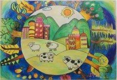 绿色家园你我共建儿童画_绿色家园绘画图片