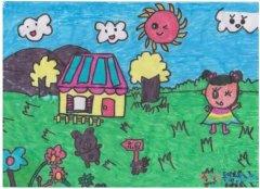 我的绿色家园儿童画图片_温馨家园画画图片
