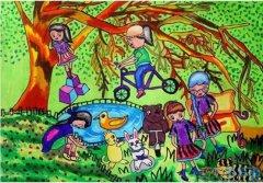 创建绿色梦想家园儿童画_绿色家园绘画图片