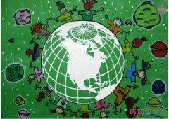手拉手绿色环保地球怎么画_绿色家园儿童画图片