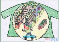 创意绿色环保家园怎么画_绿色家园儿童画图片