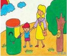环保绿色家园的画法简单_绿色家园儿童画图片