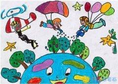 低碳出行绿色家园怎么画_绿色家园儿童画图片