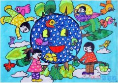 地球日绿色环保家园怎么画_绿色家园简笔画图片