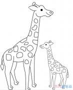 幼儿长颈鹿和妈妈怎么画好看_长颈鹿简笔画图片