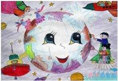 环保主题儿童画怎么画好看_绿色家园儿童画图片