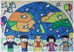 手牵手保卫绿色家园怎么画_绿色家园儿童画图片