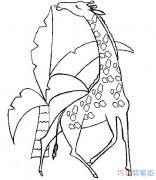 如何画出简单的长颈鹿_长颈鹿简笔画图片