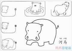 卡通河马的画法步骤图简单_河马简笔画图片