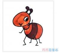 幼儿卡通蚂蚁的画涂色彩_蚂蚁简笔画图片