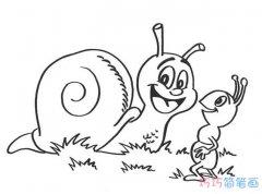 卡通蚂蚁和蜗牛的画法可爱_昆虫简笔画图片