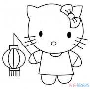 中秋kitty猫提灯笼怎么画可爱_灯笼简笔画图片