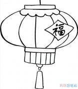 福到春节花灯笼的画法_灯笼简笔画图片
