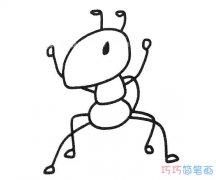 儿童站立蚂蚁的画法步骤图_蚂蚁简笔画图片