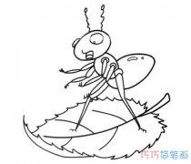 树叶上的蚂蚁怎么画简单可爱_树叶简笔画图片