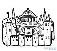 梦幻童话美丽的城堡怎么画好看_城堡简笔画图片