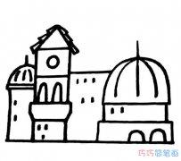 幼儿简单可爱城堡的画法_城堡简笔画图片