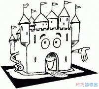 卡通建筑城堡怎么画好看_城堡简笔画图片