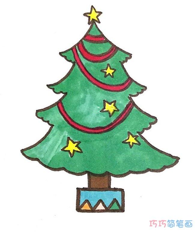 儿童漂亮圣诞树的画法简单涂色_圣诞树简笔画图片