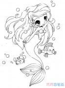 美人鱼和小鱼怎么画简单好看_美人鱼简笔画图片