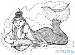 海岸上的美人鱼要怎么画素描_美人鱼简笔画图片