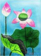 涂颜色的漂亮莲花怎么画油画_荷花简笔画图片