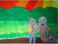 彩色重阳节关爱老人儿童画作品_重阳节简笔画图片