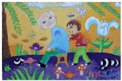 重阳给爷爷捶背儿童画怎么画_彩色重阳节简笔画图片