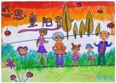 感恩重阳节的儿童画简单好看_重阳节简笔画图片