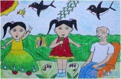 感恩庆祝重阳节儿童画作品简单_重阳节简笔画图片