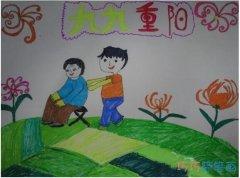 九九重阳关爱老人儿童画作品_重阳节简笔画图片