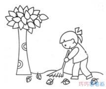 扫树叶小女孩素描怎么画简单漂亮_秋天简笔画图片