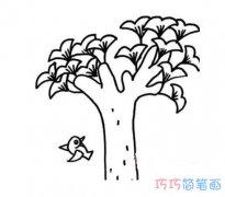 秋天大树银杏的画法简单好看_秋天简笔画图片