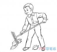 小男孩扫落叶素描的画法简单好看_秋天简笔画图片