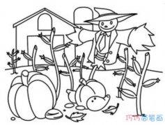 秋天收获景色怎么画好看素描_秋天简笔画图片