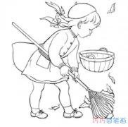 小女孩扫树叶素描怎么画简单漂亮_秋天简笔画图片