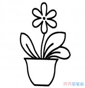 幼儿盆摘小花怎么画简单漂亮_花朵简笔画图片