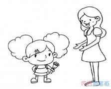感恩节给老师送花的画法简单漂亮_感恩节简笔画图片