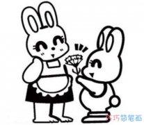 卡通感恩节送花的画法简单漂亮_感恩节简笔画图片