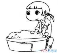 洗衣服做家务怎么画简单好看_感恩节简笔画图片