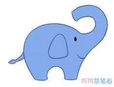 可爱大象怎么画涂颜色简单漂亮_卡通大象简笔画图片