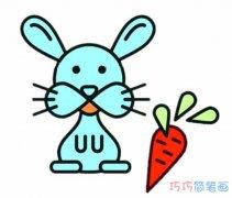 兔子吃胡萝卜怎么画简单_兔子的画法简笔画图片