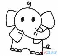 可爱大象的简单画法手绘步骤图_怎么画大象简笔画图片