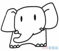 卡通大象怎么画简单好看_大象的画法简笔画图片