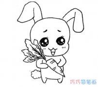 兔子拿萝卜的画法简单好看_怎么小兔子简笔画图片