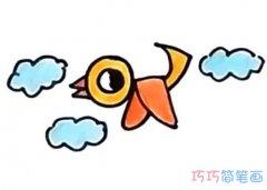 飞翔小鸟的画法手绘步骤涂颜色 怎么画小鸟简笔画图片