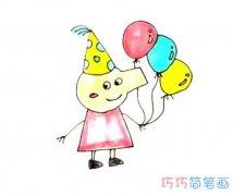 拿气球小猪佩琦的画法涂颜色 怎么画小猪佩奇简笔画图片