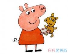 怎么画小猪佩奇涂颜色 小猪佩奇的画法简笔画图片