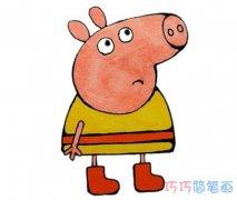 卡通小猪佩琦怎么画带颜色 小猪的画法简笔画图片