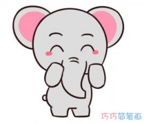 可爱大象怎么画好看_带步骤图大象简笔画图片